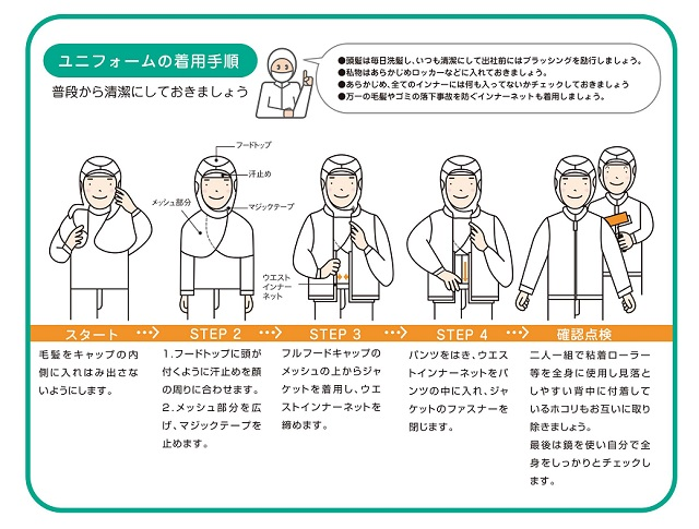 異物混入防止食品白衣の着方画像
